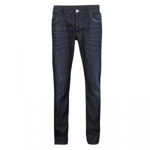 Emporio Armani Indigo Dark Wash Denim Faded Effect Distressed Jeans XL