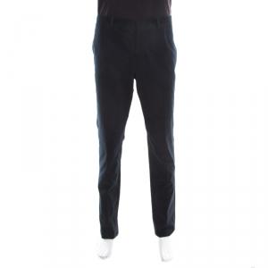 Emporio Armani Navy Blue Cotton and Cashmere Tailored Trousers XXXL