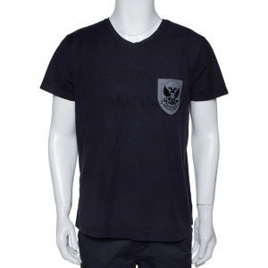 Emporio Armani Navy Blue Cotton Jude Sexy Fit T-Shirt XXL - used