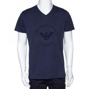 Emporio Armani Navy Blue Logo Borgonuovo Print Cotton T-Shirt XXL - used