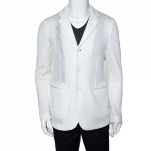 Emporio Armani White Mesh Robert Line Slim Fit Jacket XL