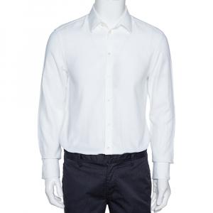Emporio Armani White Cotton Jacquard Button Front Shirt L - used