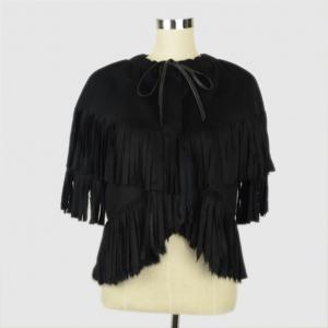 Emporio Armani Black Cashmere Wool and Fur Fringe Jacket