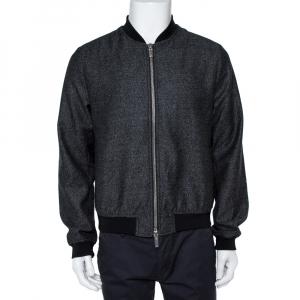 Emporio Armani Black Wool Bomber Jacket L