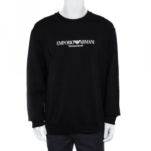 Emporio Armani Black Logo Print Cotton Sweatshirt 3XL