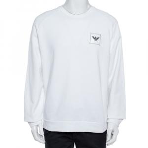 Emporio Armani White Cotton Logo Patch Sweatshirt XXL