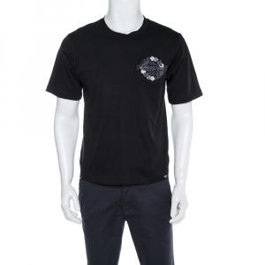 Emporio Armani Black Cotton Hawaii Patch T-Shirt M - used