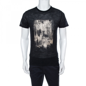 Emporio Armani Charcoal Grey Knit Abstract Gold Foil Print T Shirt L - used