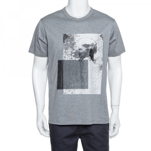 Emporio Armani Grey Abstract Printed Cotton Roundneck T-Shirt XL - used