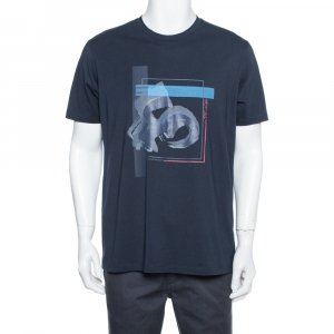 Emporio Armani Navy Blue Peace Relief Print Cotton T-Shirt XXL - used