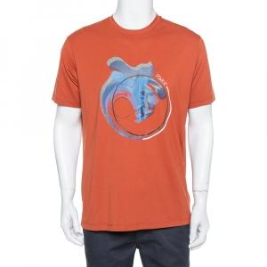 Emporio Armani Burnt Orange Power Printed Cotton T-Shirt XXL - used