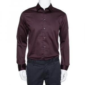 Emporio Armani Burgundy Cotton Button Front Shirt XL - used