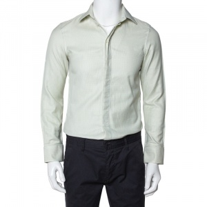 Emporio Armani Light Green Cotton Button Front Shirt S - used