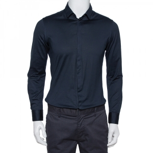 Emporio Armani Navy Blue Stretch Cotton Button Front Shirt M - used