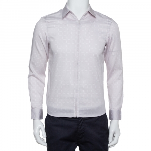 Emporio Armani Beige Printed Cotton Zipper Front Shirt M - used