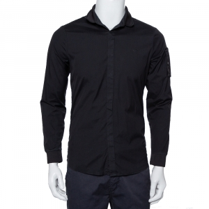 Emporio Armani Black Cotton Knit Trim Detail Button Front Shirt S - used