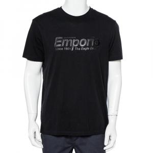 Emporio Armani Black Logo Embroidered Cotton Crewneck T-Shirt XXL - used