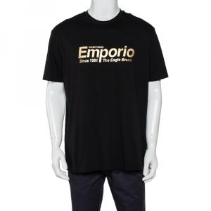 Emporio Armani Black Cotton Logo Printed Crewneck T-Shirt 3XL - used