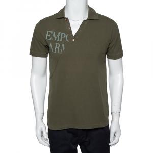 Emporio Armani Khaki Green Cotton Polo T-Shirt L - used