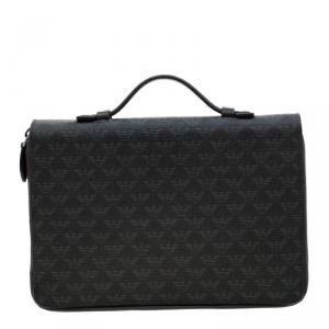 Emporio Armani Black Logo Embossed Leather Travel Organizer