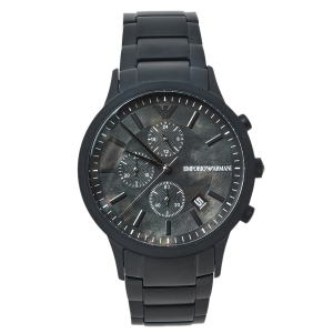 ساعة يد رجالية امبوريو أرماني AR11275 كرونوغراف ستانلس ستيل مطلي پي ڨي دي سوداء 43 مم