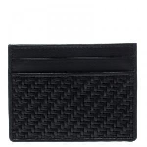 Ermenegildo Zegna Black Woven Leather Pelle Tessuta Card Holder