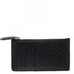 Ermenegildo Zegna Dark Brown Woven Leather Pelle Tessuta Case
