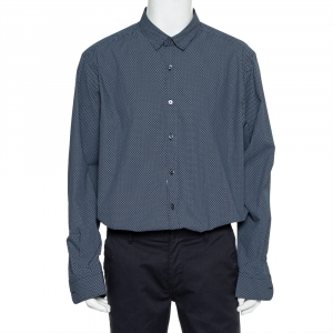 Ermenegildo Zegna Blue Printed Cotton Button Front Shirt 3XL