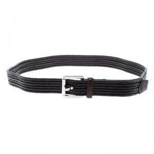Ermenegildo Zegna Brown Braided Woven Leather Elastic Belt 110 CM