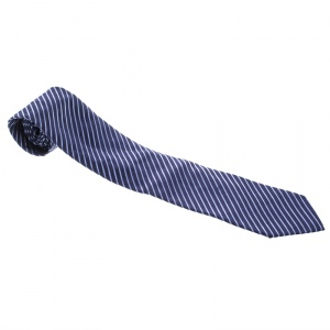 Ermenegildo Zegna Pour Le Secretaire General Navy Blue Diagonal Striped Silk Tie