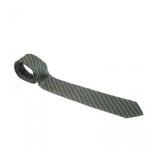 Ermenegildo Zegna Olive Green Diagonal Pattern Silk Jacquard Tie