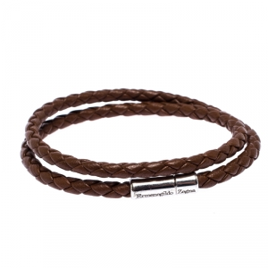 Ermenegildo Zegna Brown Woven Leather Silver Double Wrap Cord Bracelet