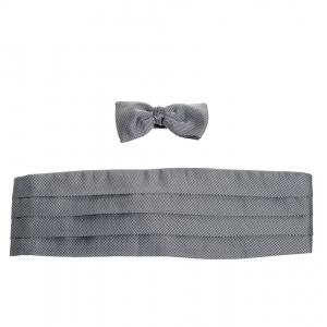 Ermenegildo Zegna Black/White Checkered Silk Cummerbund And Bow Tie Parure