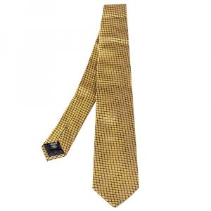 ربطة عنق ايرمنيجيلدو زينيا حرير جاكارد مزخرف أصفر