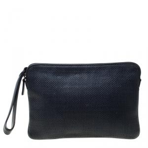 Ermenegildo Zegna Black Leather Pelletessuta Pouch