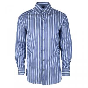 Ermenegildo Zegna Blue Striped Long Sleeve Buttondown Cotton Shirt S