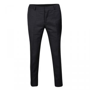Z Zegna Dark Grey Wool Narrow Fit Tailored Trousers M