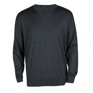 Ermenegildo Zegna Dark Grey Cashmere and Silk Long Sleeve V Neck Sweater XXL
