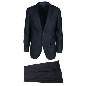 Ermenegildo Zegna Couture Navy Blue Wool and Silk Regular Fit Tailored Suit L