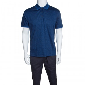 Ermenegildo Zegna Blue and Black Cotton Knit Diamond Pattern Polo T-Shirt M