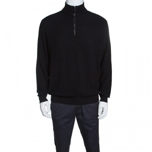 Ermenegildo Zegna Black Wool and Cashmere Leather Patch Detail Sweater XXL