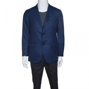Ermenegildo Zegna Navy Blue Wool Silk Linen Blend 10 Pockets Blazer M