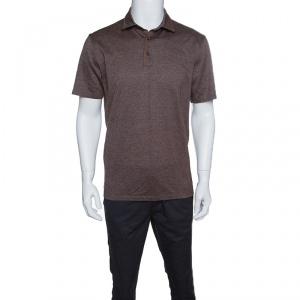 Ermenegildo Zegna Brown Marled Cotton Polo T-Shirt M