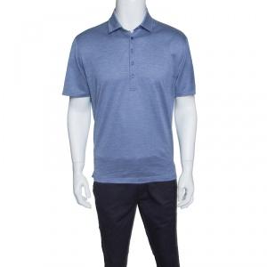 Ermenegildo Zegna Blue Honeycomb Pattern Short Sleeve Polo T-Shirt M