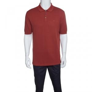 Ermenegildo Zegna Couture Brick Red Cotton Knit Polo T-Shirt L