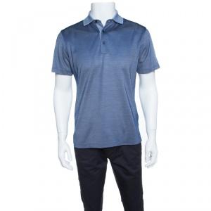 Ermenegildo Zegna Navy Blue and White Silk Honeycomb Knit Polo T-Shirt S