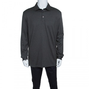 Ermenegildo Zegna Grey Honeycomb Knit Collared Long Sleeve T-Shirt XXL