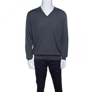 Ermenegildo Zegna Grey Cashseta Light Ribbed Trim V-Neck Sweater XXL
