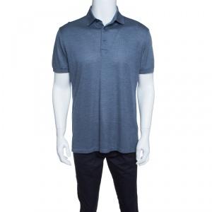 Ermenegildo Zegna Metallic Grey Silk Knit Ribbed Trim Polo T-Shirt M