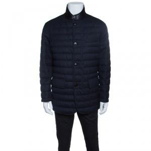 Ermenegildo Zegna Navy Blue Melange Wool Leather Trim Quilted Down Jacket XXL
